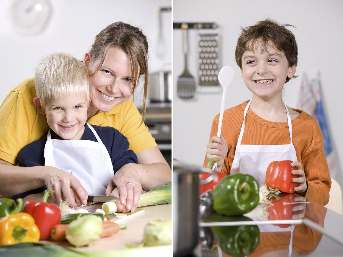 Niedliche Kinderfotos für eine Anzeigenkampagne im Bereich Ernährung