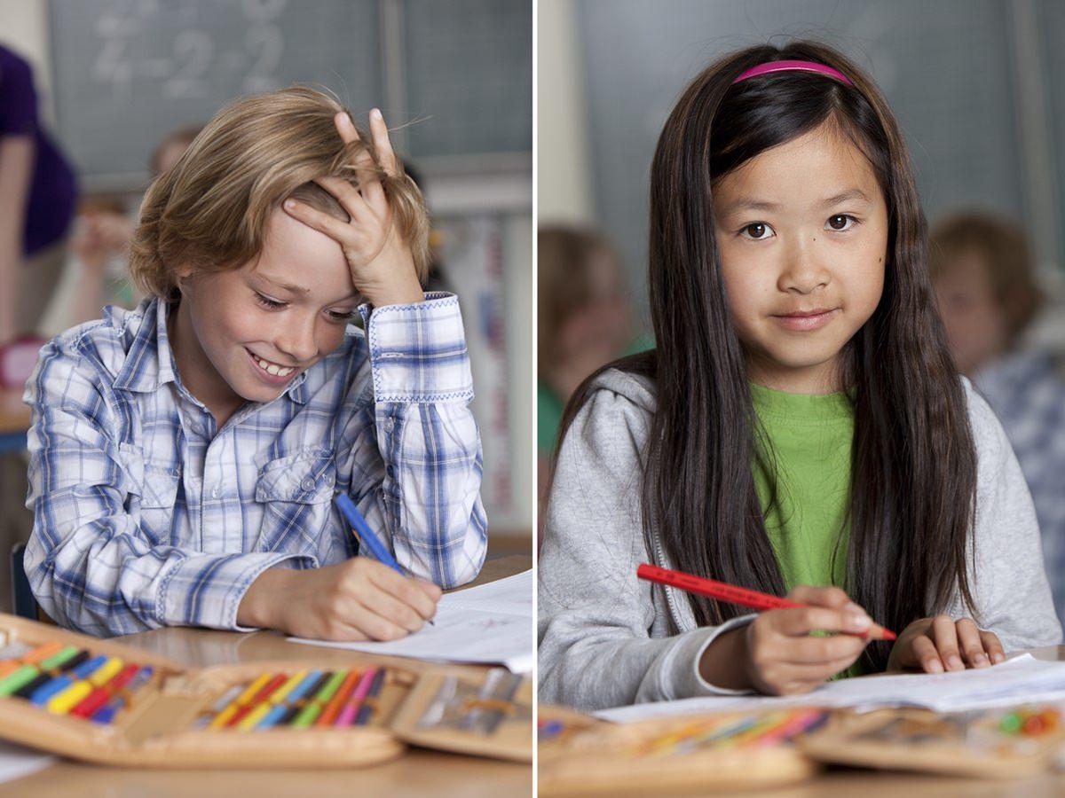 Sympathische Portraits von lernenden Kindern für eine Werbekampagne