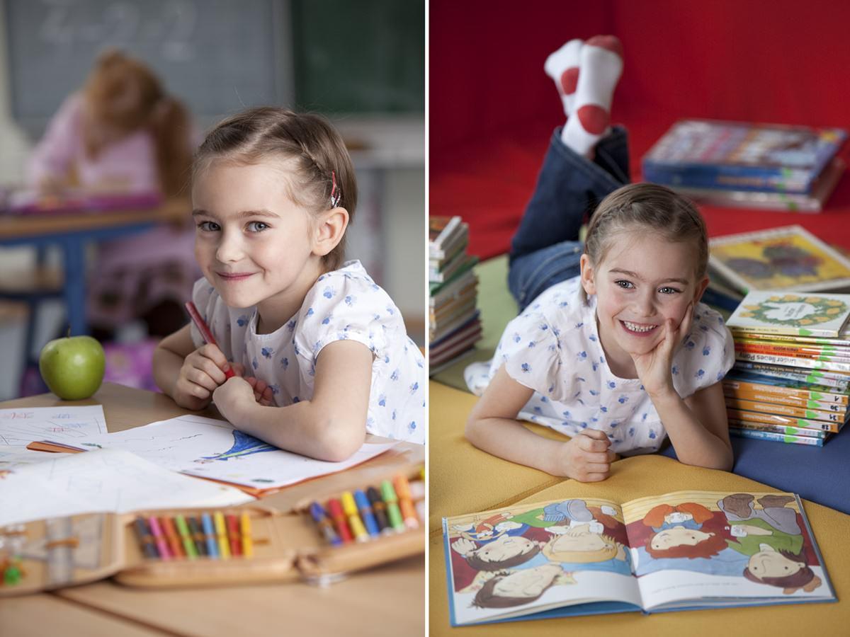 Kinderportrait eines lernenden Mädchens für Werbefotografie