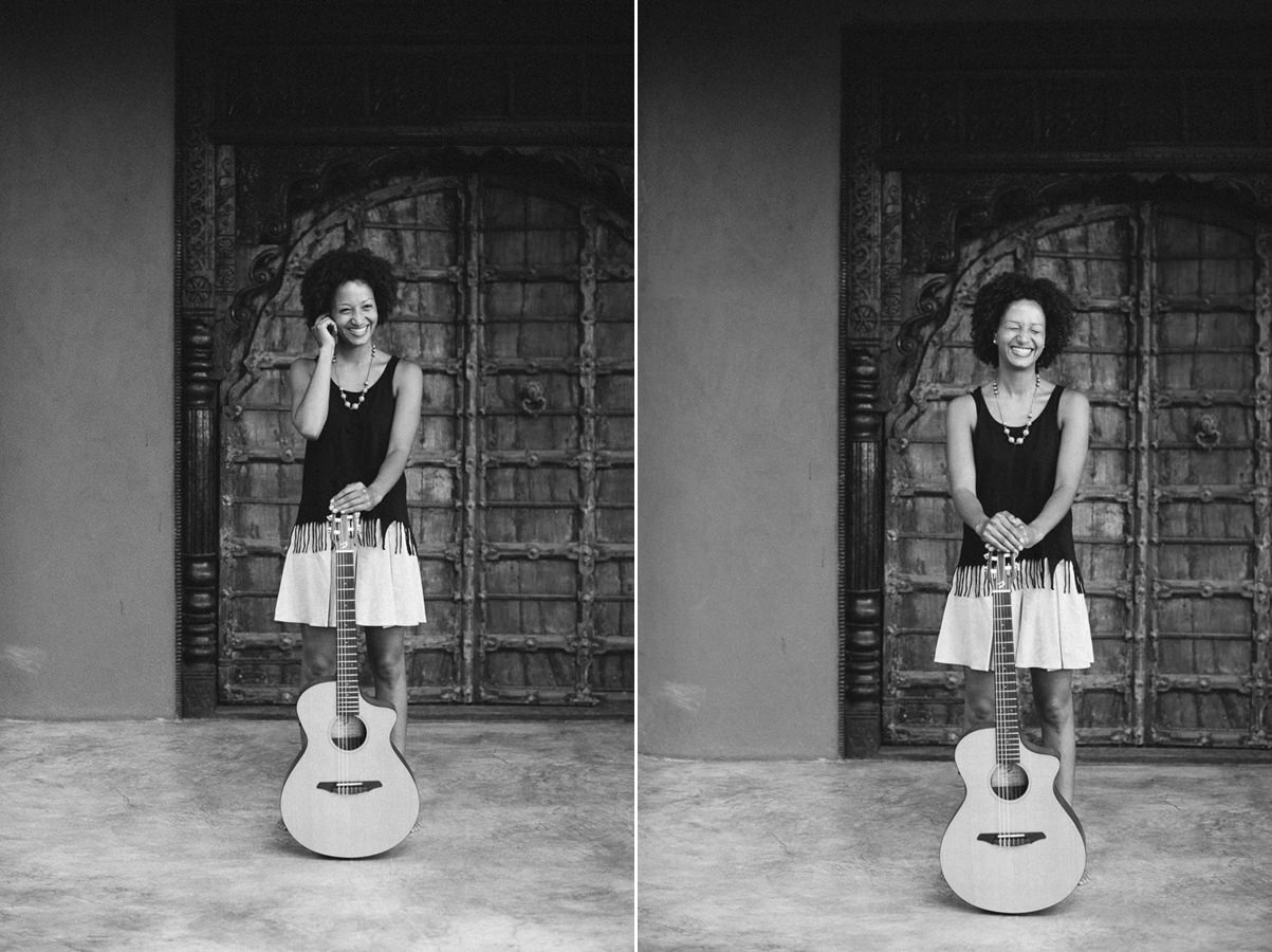 black and white portrait photos of musician Nely Daja