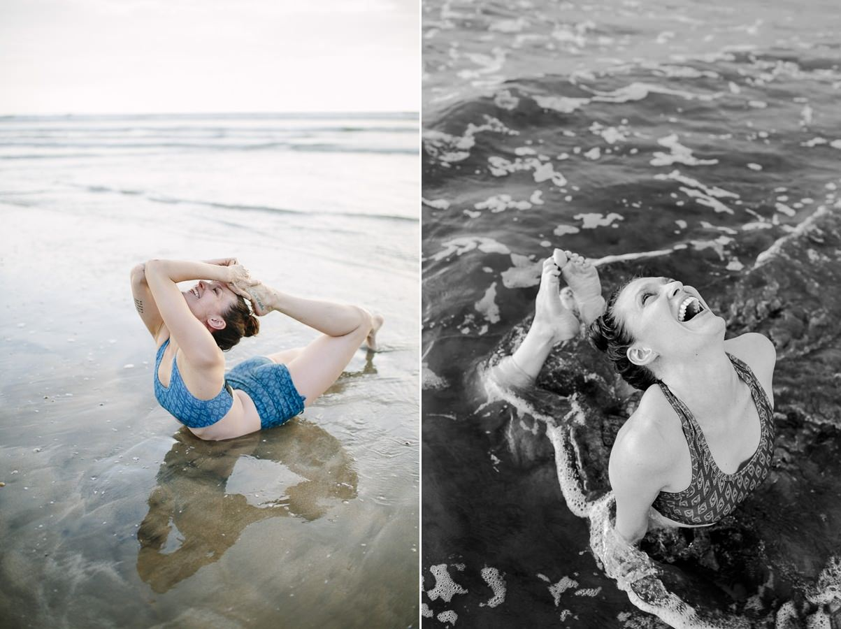 Yoga photos of Liz Huntly in the water