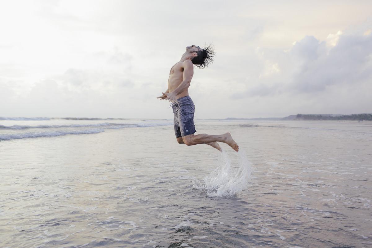 Yoga Portrait of Daniel Scott in the ocean