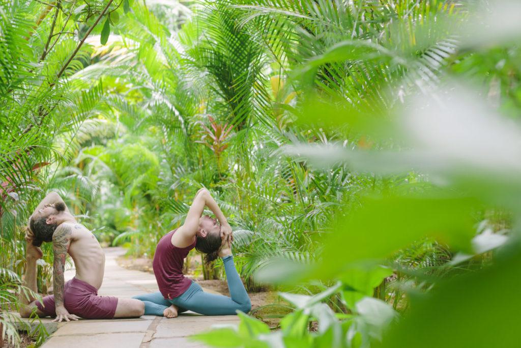 ein Mann und eine Frau machen ein Yoga Asana auf einem Weg umgeben von grünen Palmblättern | Foto: Hanna Witte