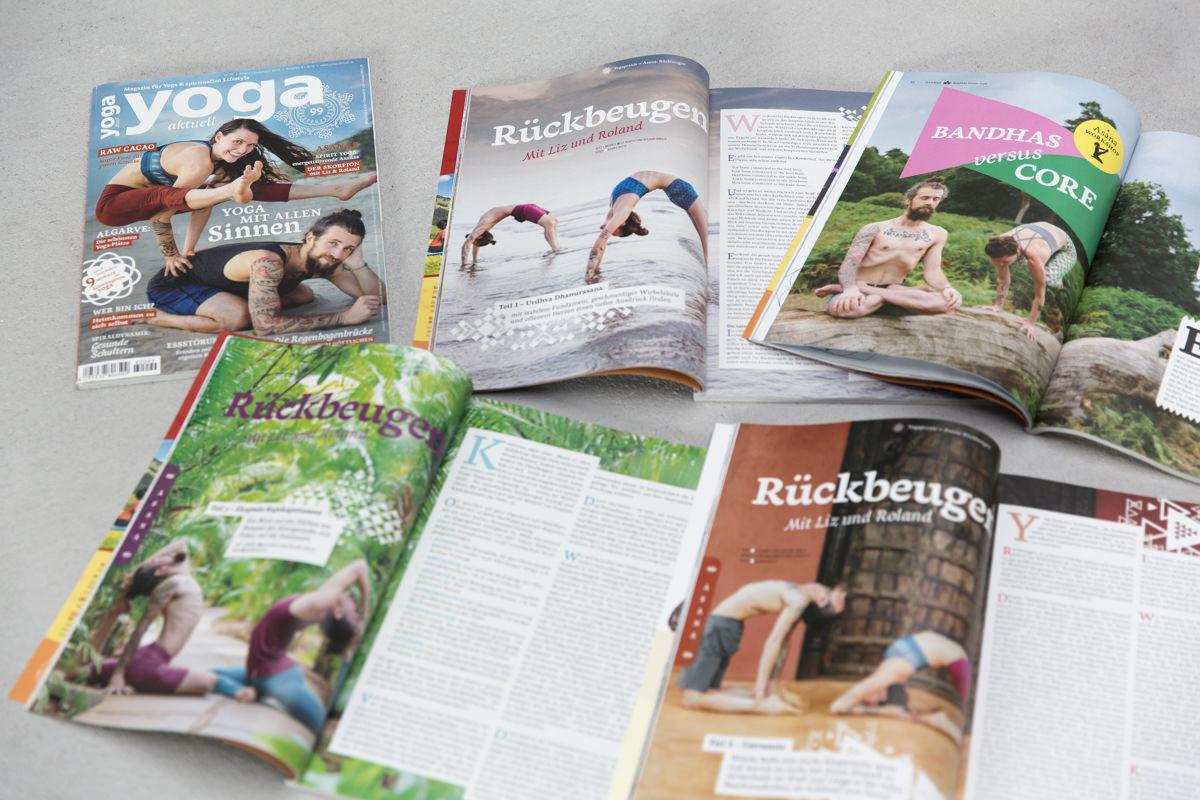 Foto von einem Artikel in der Yoga Aktuell mit Yoga Bildern von Hanna Witte | Foto: Hanna Witte