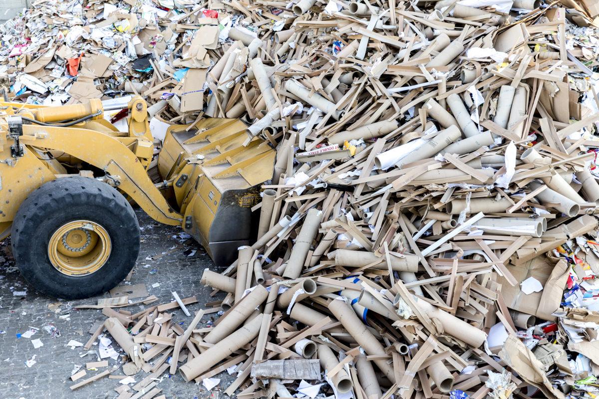 Industriefotografie eines Baggers und Altpapier auf dem Gelände eines Entsorgungsfachbetriebs