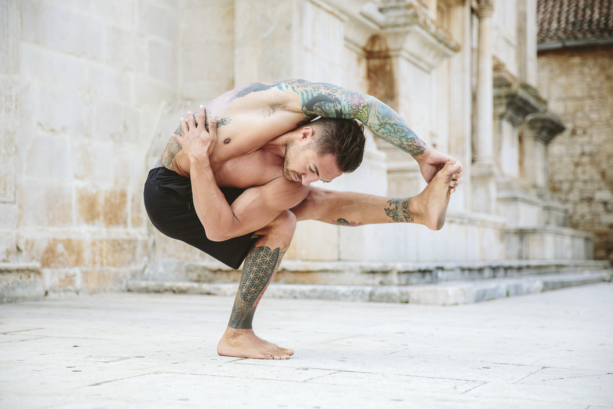 yoga portrait of Dylan Werner doing yoga in croatia