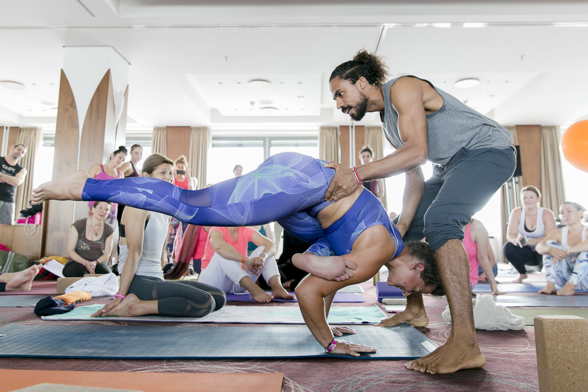 yoga teacher Mathieu Boldron during the yoga conference germany