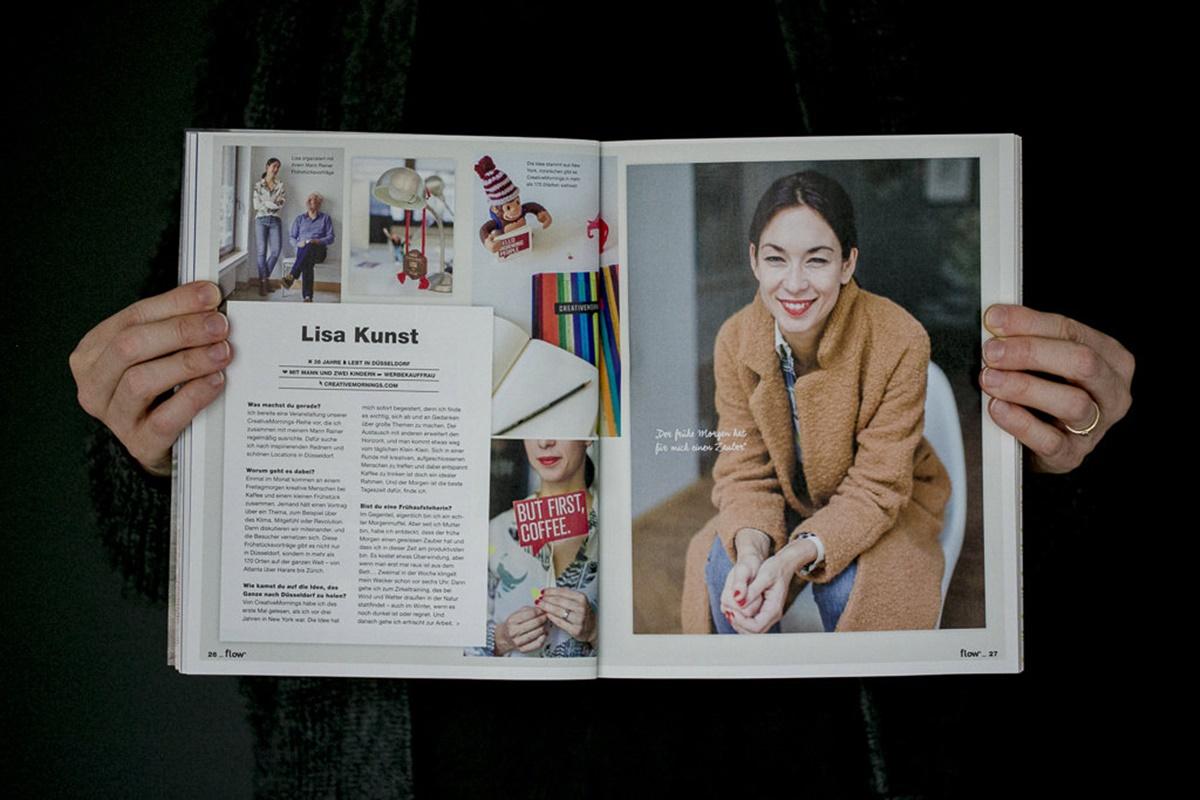 Artikel mit Portraitfotos von Lisa Kunst im Flow Magazin | Foto: Hanna Witte