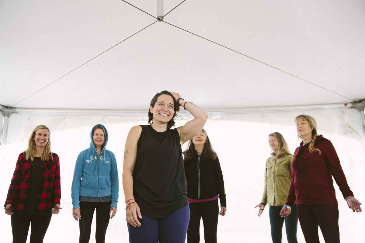 Yoga teacher Nina Konjini during her class at the Groove Festival in Canada