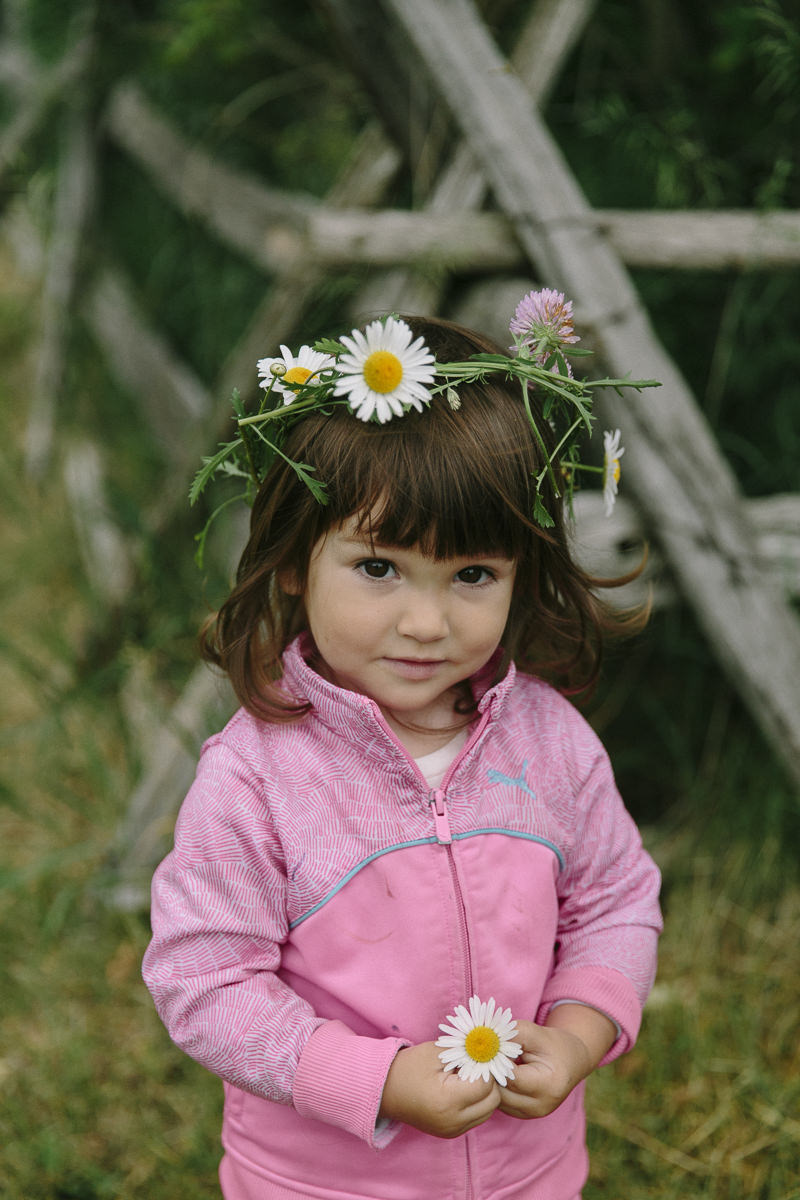 little girl with a floral wreath during the Groove Yoga Festival in Canada