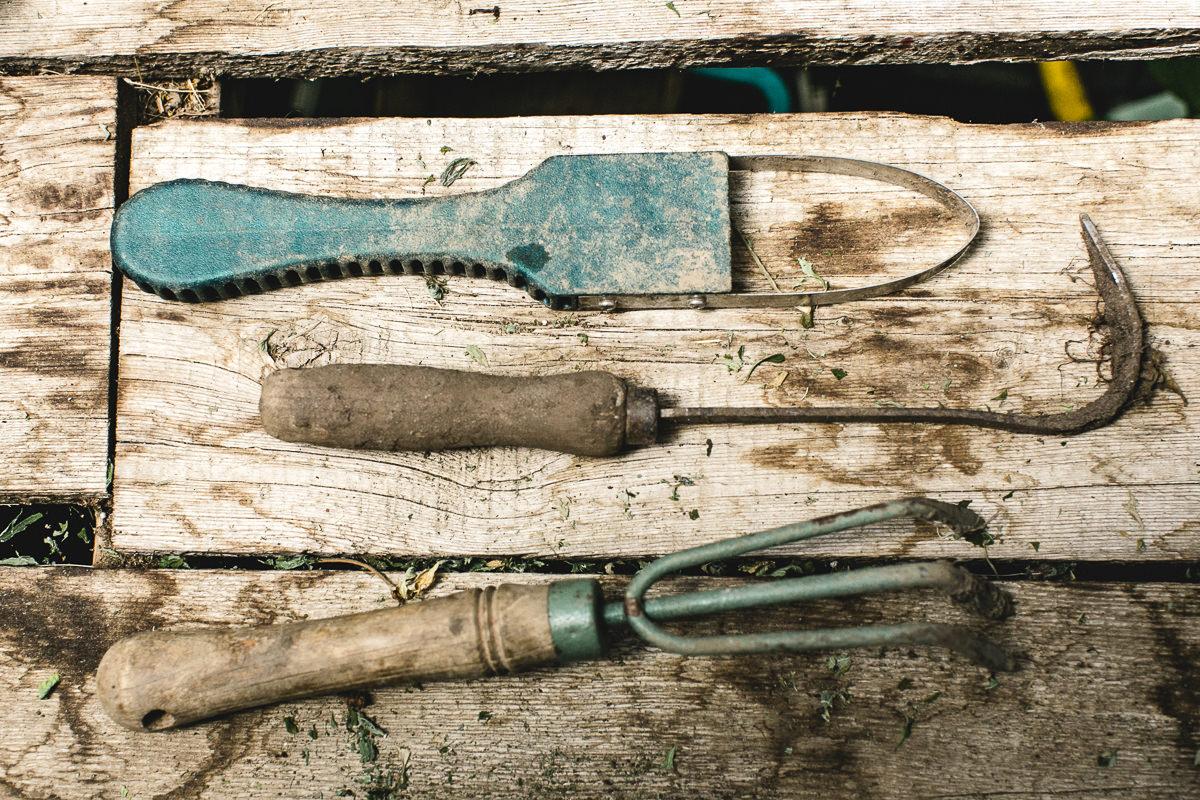 Gartenwerkzeug für die Arbeit auf der Farm in Kanada