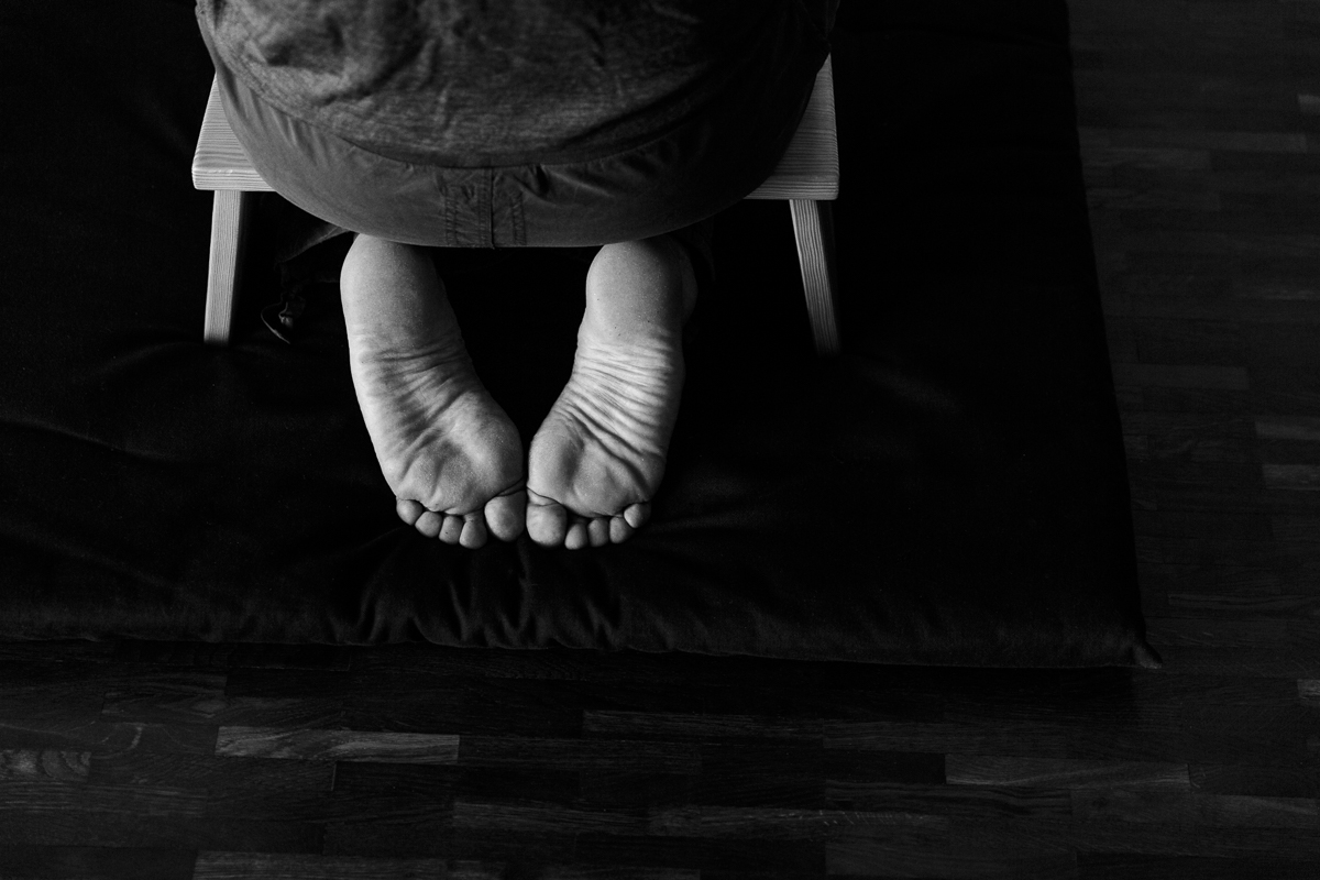 Yoga Foto in schwarz weiss