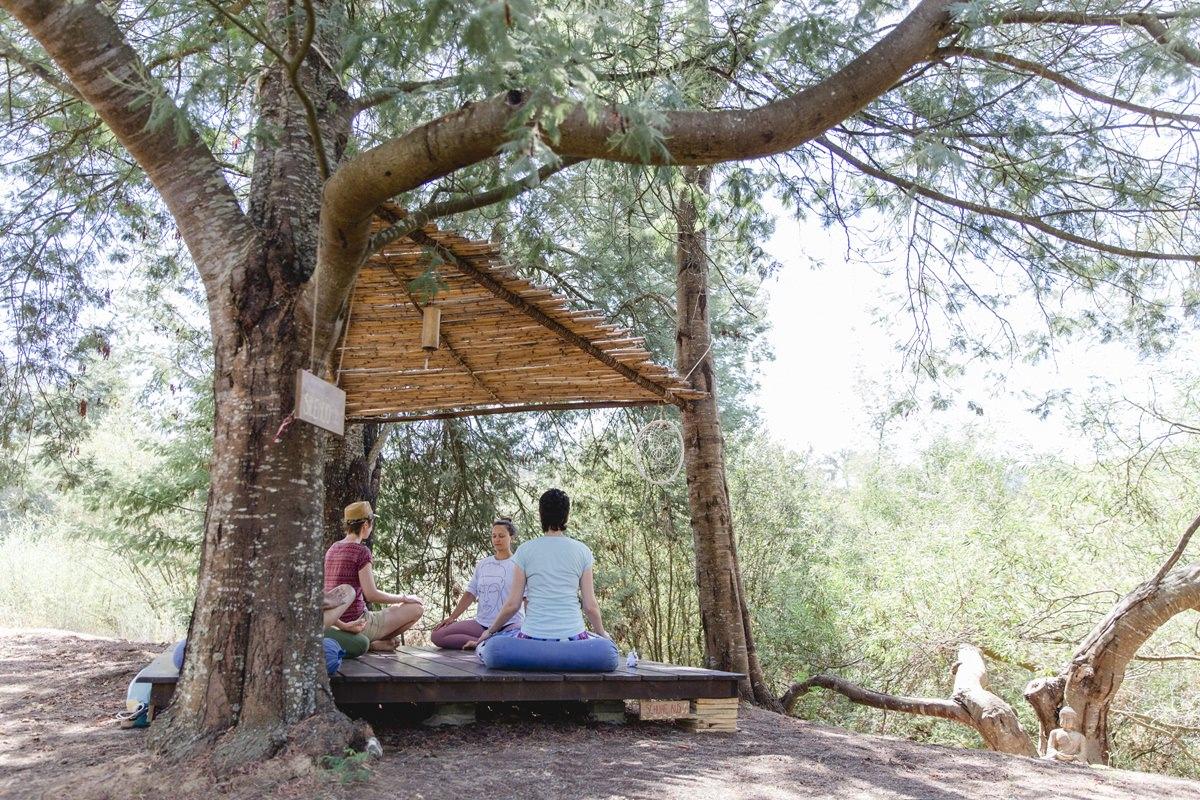 Foto von Teilnehmern eines Yoga Workshops im Ausland