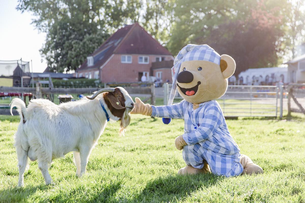 Foto vom Maskottchen des Familienhotels Bauer Martin beim Streicheln einer Ziege | Foto: Hanna Witte
