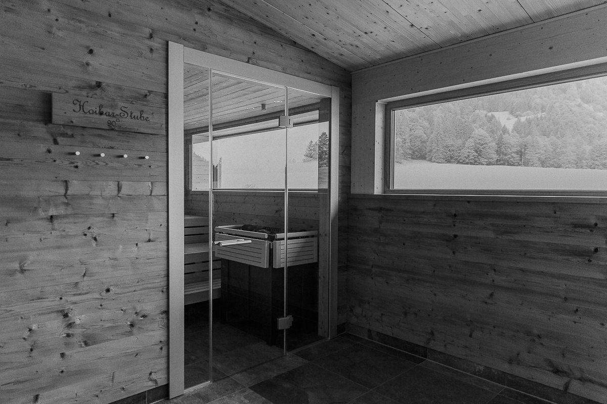Sauna Landschaft im 3-Sterne Hotel Naturhof Stillachtal in Oberstdorf | Foto: Hanna Witte