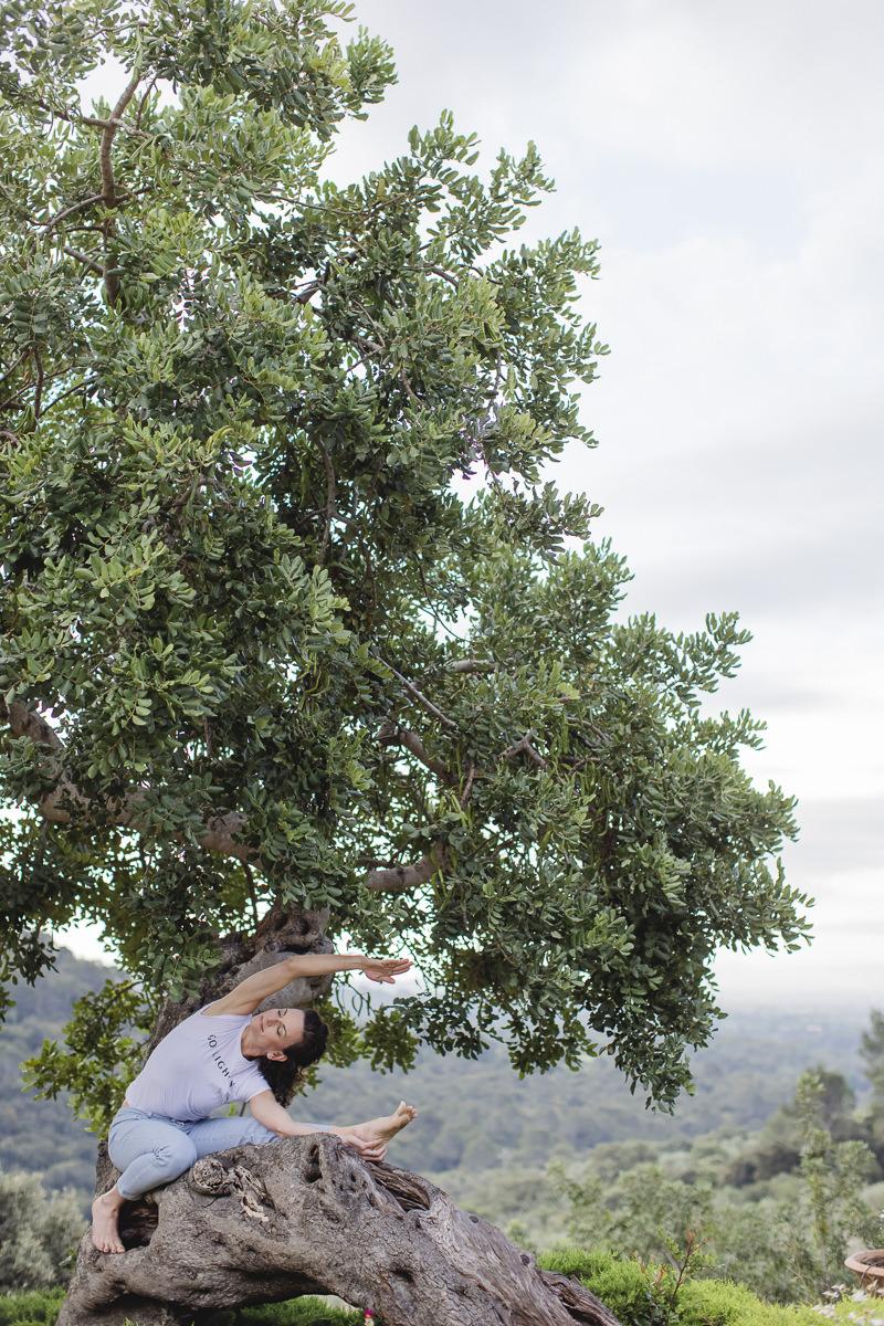 Yoga Asana an einem Baum auf Mallorca   Foto: Hanna Witte